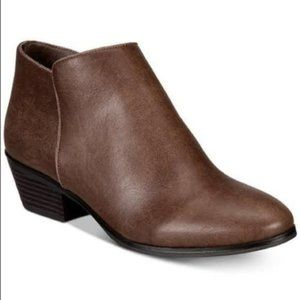Style & Co Brown Leather Wileyy Ankle Booties